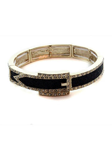 Rhinestone Buckle Bangle Bracelet - The perfect dose of arm candy for all your nights out. Bangle bracelet shines with a rhinestone buckle design. Hinge closure. Imported.