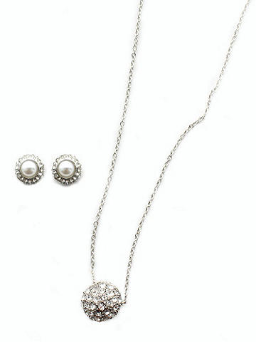 Subtle Sparkle Necklace & Earring Set - Day or night, add a subtle touch of sparkle with these classic pieces that pair with everything. Necklace features pendant inlaid with rhinestones. Matching earrings. Imported.