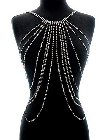 Multi Strand Rhinestone Top - Our stunning piece of body jewelry adds an unexpected accent to lingerie and clubwear. The intricate rhinestone design drapes you in the most alluring way. Imported.