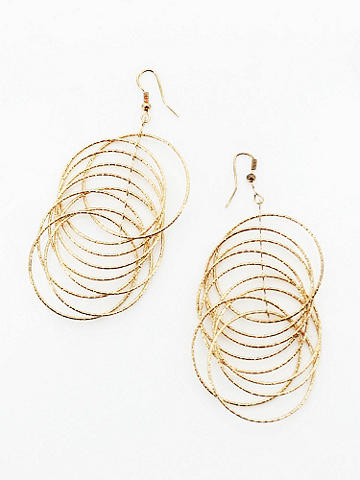 Diamond-Cut Round Dangle Earrings - Go bold with gold, but shine like a diamond. These Diamond-Cut Round Dangle Earrings are the perfect accessory for a night of going glam. Wire hook finish. Imported.