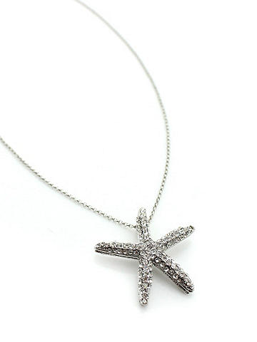 Rhinestone Starfish Necklace - Beach babes sparkle with this rhinestone starfish necklace. Dressed up or down, it's perfect for a day in the sand or a midnight rendezvous. Adjustable claw clasp. Imported.