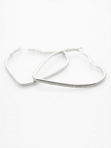 Glitter Heart Hoop Earrings - You're going to heart these hoops! Fall head over heels for these shimmering, rhinestone accents--they might just be your one true love. Snap post closure. Imported.