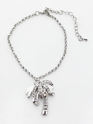 Palm Tree Anklet - Take your toes to the beach looking gorgeous and gleaming. Dress this silver Palm Tree Anklet up or down--it's perfect for any warm-weather outing. Imported.
