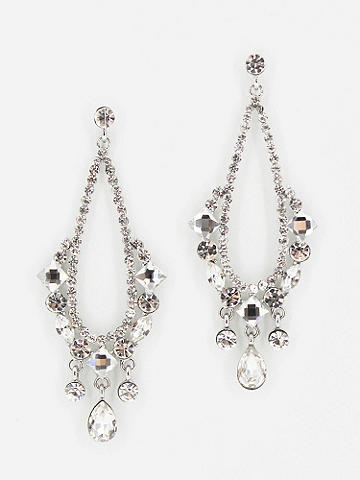 Chandelier Rhinestone Earrings - Embody the height of grand glamour with these Chandelier Rhinestone Earrings, and you'll leave everyone wanting more. Post closure. Imported.