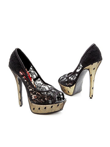 Crackle Lace Peep Toe