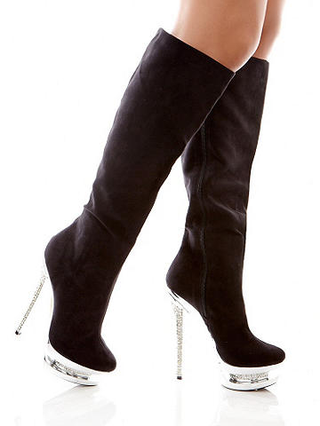 "Jeweled Platform Knee-High Boot - Stylish, chic and impossible to resist: Meet our incredible new double platform boot! Featuring an inset covered in sparkling rhinestones and a stiletto heel, it's one-of-a-kind. Knee high design. Finished with a 5 1/2"" heel and 1 3/4"" platform. Imported."
