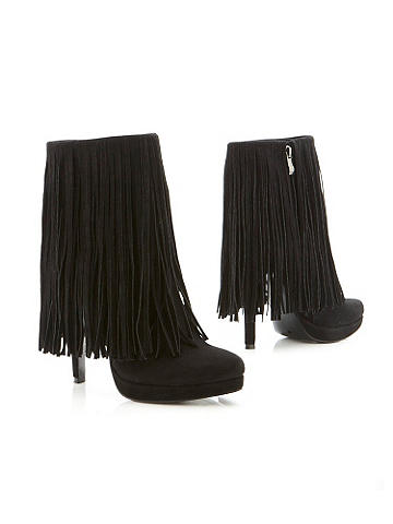 "Forever Fringed Bootie - The cold weather staple with fringe benefits! Designed in faux suede and featuring a stylish ankle boot silhouette. Finished with real suede fringe. 4 1/2"" heel and a 1"" platform. Imported."