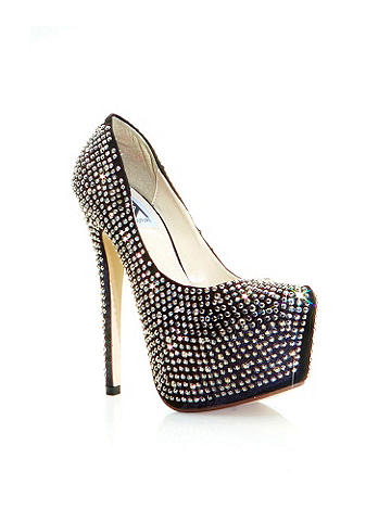 "STARBURST RHINESTONE PUMP - Set the night afire! With every step you'll shimmer, sparkle and shine in this platform pump. Each heel features 2,500 hand-applied rhinestones ready to reflect the lights and turn you into the center of attention. Finished with a 6"" heel and 2 1/2"" hidden platform. Imported."