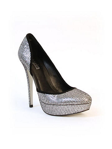 """Glitter Cutout Pump Charles by Charles David - It's the season to sparkle! Slip on these ultra-high, incredibly chic heels for the perfect  finish. An unexpected side cutout offers a peek-a-boo glimpse and kicks up the style!  5"""" heel, 1"""" platform. Imported."""