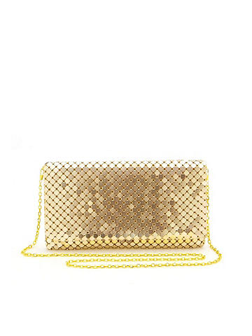 "Holiday Nights Clutch - Why shouldn't your purse be as shining as the rest of your sexy holiday style? Made of metal chain mail, this clutch offers a shoulder strap for an over-the-shoulder option. Snap front closure and an inside zipper pocket. Height: 7"". Length: 11"". Width: 1"". Imported."