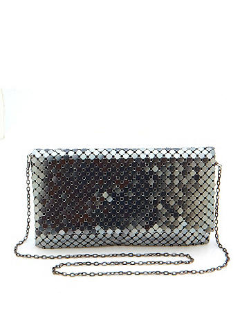 "METAL MESH CLUTCH - Why shouldn't your purse be as stylish as the rest of your outfit? Made of metal chain mail, this clutch is the go-to piece for the holidays. Offering a shoulder strap for carry ease, it's versatile and oh-so chic. Snap front closure and an inside zipper pocket. Height: 7"". Length: 11"". Width: 1"". Imported."