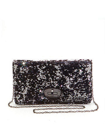 "Two-Tone Clutch - Don't let your outfits have all the sparkling fun! Reach for this sequined clutch when you need a glitzy boost. Finished with a revolving clasp closure and optional shoulder strap. Snap front closure and an inside zipper pocket. Height: 7"". Length: 11 1/2"".  Imported."