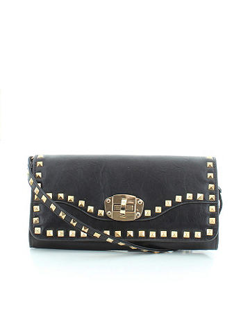 "Studded Clutch - Decorated with studs and boasting some serious gold tone hardware, this is the only clutch for all your wild days and nights. Finished with a clasp closure and optional shoulder strap. Snap front closure and an inside zipper pocket. Height: 6"". Length: 11"". Imported."