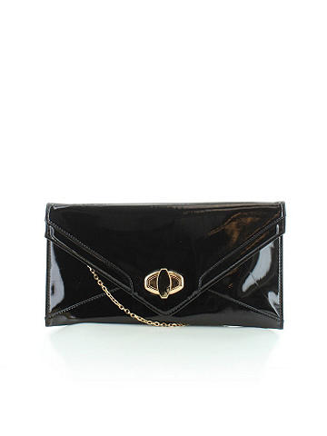 "Patent Leather Clutch - Gorgeous patent leather gets the chic treatment with gold tone hardware and a turn clasp closure. Interior zip pocket. Optional chain strap. Ethically made from vegan leather. Height: 7 1/2"". Width: 14"". Imported."