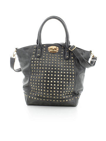 Studded Tote Bag - The perfect daily use bag! Featuring gold tone hardware and a clasp closure compartment. Zip closure main. Removable shoulder strap to make travel easier. Made from vegan leather. <br><br>