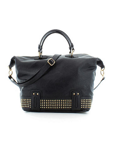 Studded Bottom Tote - Meet the bag for all your chic travel needs. Featuring gold tone hardware and a zip closure main. Interior has zip pockets and two open pockets. Removable shoulder strap for carrying ease. Made from vegan leather.<br><br>