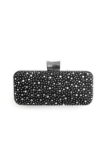 "Rhinestone Miniaudiere Clutch - Glamour, sophistication and style! Reach for this hardcase clutch for all your night out needs. Decorated with satin and rhinestones on the outside. The inside features an open pouch and optional chain strap. A rhinestone clasp finishes the look. Height: 3 1/2"". Length: 7 1/4"". Imported."