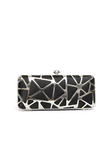 "Black Metal Miniaudiere Clutch - Bold satin and metallic in an edgy, abstract design transform this hardcase clutch into the must-have bag of the season. Silver-tone clasp on top. The inside features an open pouch and optional chain strap. Height: 3 3/4"". Length:8"". Imported."