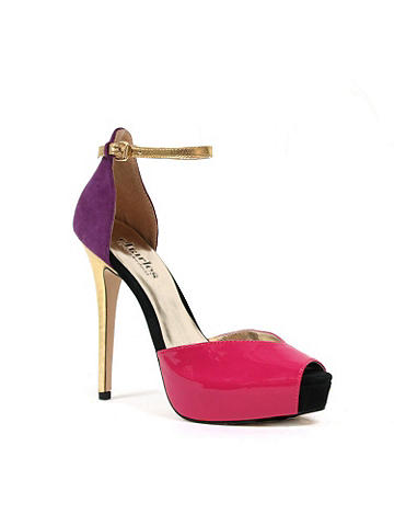 Charles David Colorblock Pump - Introducing the color block peep toe pump by Charles David. Designed in a stunning patent leather and featuring a pink sole, this the perfect match to your brightest spring looks. Finished with an adjustable ankle strap. Imported. Exclusive to Frederick's of Hollywood.