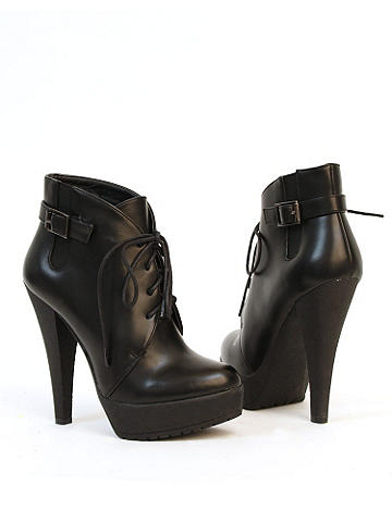 "Adiras Lace-Up Bootie by Charles David - Charles by Charles David. The essential boot for fall feaures lace-up front,  a cone heel and a comfort-ensuring platform! 4"" heel, 1"" platform. Imported."