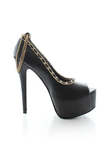 "Isla Chain Stiletto - Draping chains add a daring sex appeal to the classic pump. With denim or dresses, this is an effortlessly chic essential for fall. Peep toe. Chain ankle strap with clasp closure. 6 ¼"" heel. 2"" platform. Imported."