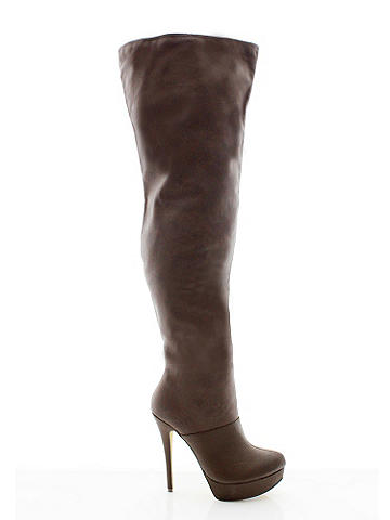 "Grace Thigh-High Boot - Take your sexy style to the greatest heights with the hottest thigh-high boot of the season. Finished with a stiletto heel, it pairs perfectly with a mini, bold lips and bombshell hair. Suede and faux leather. Pull-on style. 5"" heel. 1"" platform. Imported."