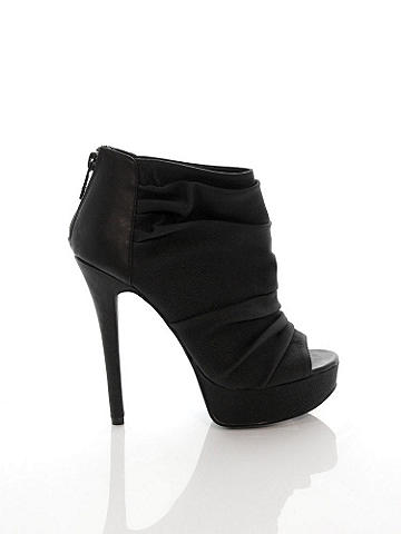 Aveline Peep-Toe Bootie - Chic ruching and a feminine peep-toe create a bootie that pairs with everything in your wardrobe. From day to night, you'll reach for this pair again and again. Finished with platform and wedge heel. Imported.
