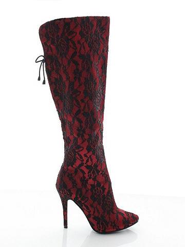 "Odette Lace Overlay Boot - A gorgeous lace overlay gives this boot a glamorous leg up and sends your sex appeal soaring. Its stunning features include:  <ul>    <li>Notched back</li>    <li>Plush lining</li>    <li>Full inside zipper</li>     <li>Bow details</li>     <li>Side zipper from middle of boot to sole</li>     <li>Covered 4"" heel</li> </ul> Imported."