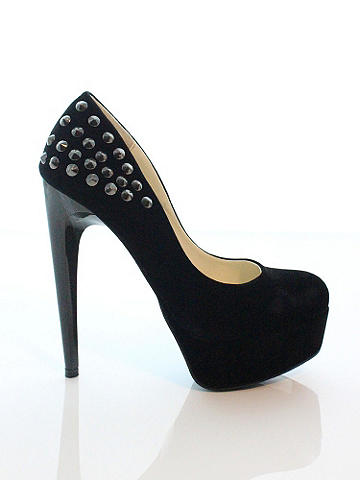 "Erika Studded Pump - A ladylike pump gets a seductive edge with chic studding at the heel. It adds a touch of sexy to your workday blazer and skirt, and amps up any night-out look. 1¼"" platform and 4"" heel. Imported."