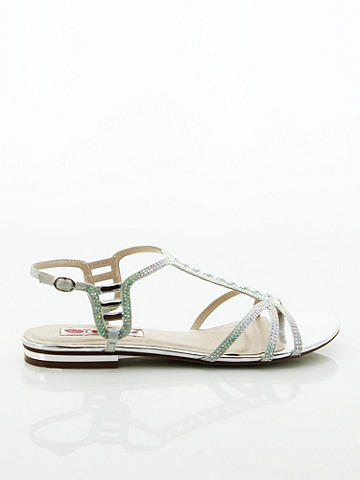 Mariette Flat T-Strap Sandal - Stunning style that shines on warm weather days. The perfect way to dress up minis and maxis or to slip into after the beach. This flirty, flat sandal features allover strappy detail in an artful mix of rhinestones and crystals. Thin ankle strap with buckle. Imported.