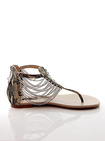 Chain Draped Flat Sandal - null