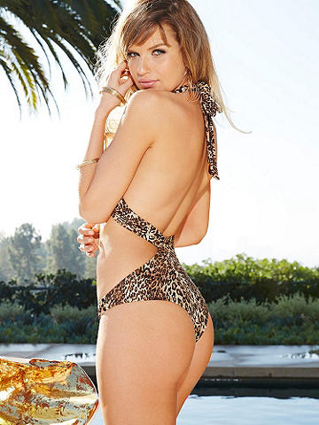 Leopard Wrap Monokini - For the girl who's wild at heart—especially on the beach. This stunning monokini wraps around the back and crosses at the halter neck in front. Stunning features include: 