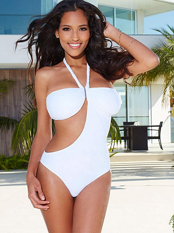 NEW Goddess One-Piece Suit - Calling all sun goddesses—spotlight your stunning silhouette in this white-hot suit with silvertone hardware detail. Sexy features include: <ul>   <li>Asymmetrical design</li>    <li>Hardware and twist detail</li>    <li>Padded bra cups</li>   <li>Halter ties</li>    <li>Open back</li>    <li>Back bra clasp</li> </ul>  Imported.