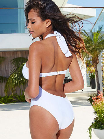 NEW Goddess One-Piece Suit - Calling all sun goddesses—spotlight your stunning silhouette in this white-hot suit with silvertone hardware detail. Sexy features include: