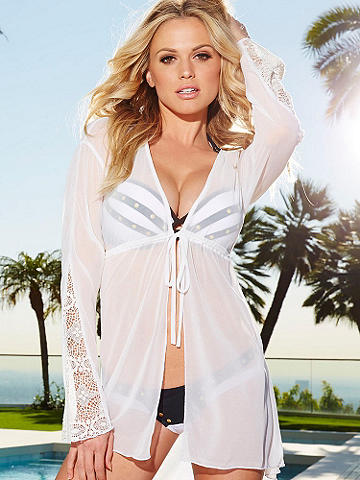 Summer Sheer Cover-Up - The perfect piece to take along on vacation or throw on over your bikini. This breezy, sheer cover up is designed with an open front and ties at the middle.