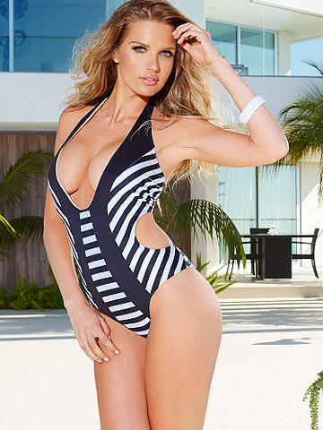 Deep-V Striped One-Piece Suit - This striking one-piece with bold black-and-white stripes and deep plunging neckline shows you're not afraid to be noticed. The body-slimming design and pattern are what every girl wants in a swim suit. This super sexy one-piece features: 