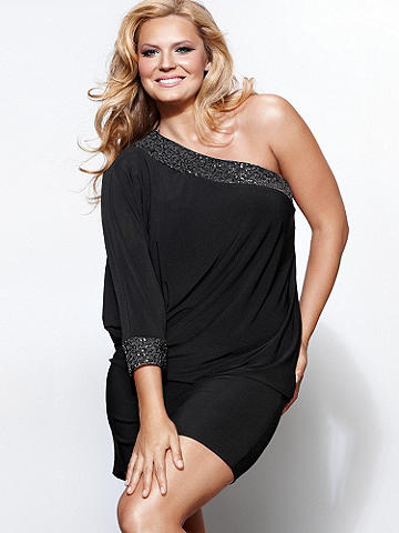 Sequin One-Sleeve Dress Plus - A see-and-be-seen dress gets a flourish of sequins for added glamour. Blouson top and figure-hugging skirt. One wide Dolman sleeve and sequin accents. Polyester/spandex. Imported.