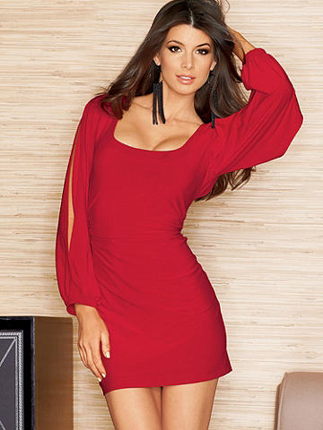 Slit Sleeve Dress - A figure-flaunting dress that spotlights your body in the sexiest way. Ruching at the sides flatters every shape. Accessorize with your favorite chunky jewelry for a chic after-dark look. Polyester/spandex. USA.