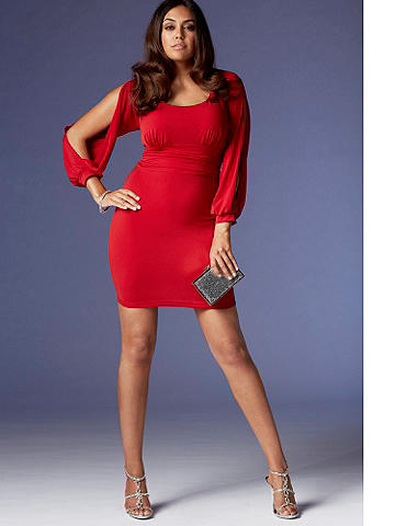 Slit Sleeve Dress PLUS - A figure-flaunting dress that spotlights your body in the sexiest way. Ruching at the sides flatters every shape. Accessorize with your favorite chunky jewelry for a chic after-dark look. Polyester/spandex. USA.