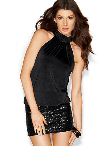 Sequin Skirt Blouson Dress PLUS - Get show-stopping style in this over-the-top-sexy mini with blouson upper and banded bottom. Curve-hugging attached, stretch-sequin skirt. Mock halter with back-of-neck buttons. Polyester/spandex. Imported.