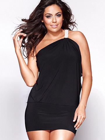 Bejeweled Band of Angels Dress PLUS - Delicately draped on top and seductively snug on bottom, this knit frock is a knockout combination of opposites. One-shoulder style shines with a radiant rhinestone strap, creating a stunning dress that can be accessorized in either direction from polished to party girl. Polyester/spandex. USA.