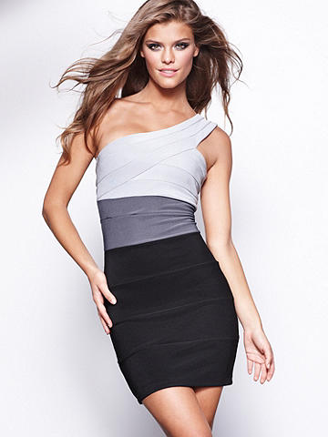"Ombre Bandage Dress - Receiving inspiration from the classic bandage dress, this version takes the original to new heights of chic. Rendered in a one shoulder silhouette, it features an incredible ombre colorblock design. Finished with a body-conscious fit, this the dress that will have all eyes on you. 35""long. Polyester/spandex. Imported."