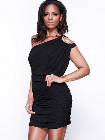 Ruched One-Shoulder Dress - Dance the night away in this stunning one-shoulder dress. Featuring ruched sides and a flattering blouson silhouette. A  surprise cutout at the shoulder lets a glmpse of skin show.  Accented with gold-tone hardware. Polyester/spandex. Imported.