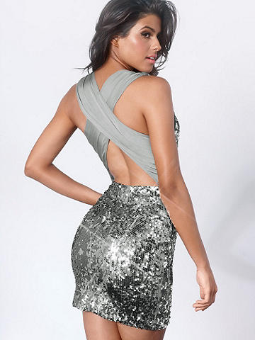 Sequin X-Back Dress - Set the night afire in this stunning sequined dress. Featuring a devastatingly sexy X-Back that allows a glimpse of skin to show. In a sleeveless, body-hugging fit, this the perfect dress to go from happy hour to midnight! Lined. USA.
