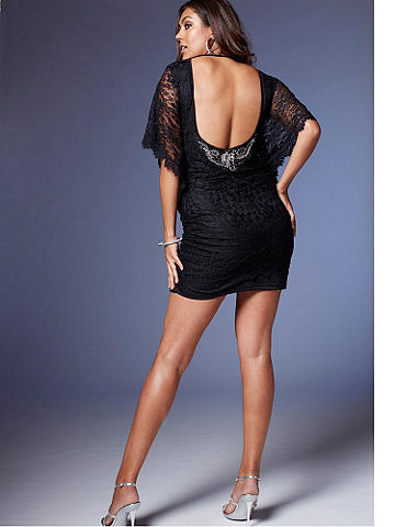 Lace & Shine Low Back Dress PLUS - The LBD gets romantic in lace! Featuring a low scoop back and dramatic, sheer batwing sleeves, this is the must-have party dress of the season. A shimmering applique at the back makes sure your exit is as noticed as your entrance. Nylon/spandex. Imported.