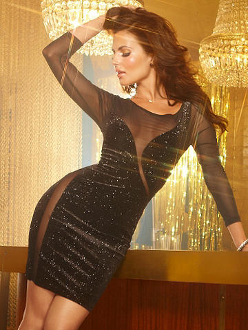 "Glitter Body-Con Dress - Captivating curves. Mesmerizing mesh. Allover shimmer. This dress gets a boost from it all! The body-hugging style features sheer mesh arms and wrap-around detailing. Styled in a slinky silhouette-flaunting fabric with a dare-to-bare mesh back. Long sleeves. Dress length 35"". Polyester/spandex. Imported. USA."