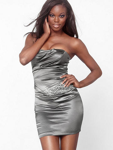 Satin Party Dress - Take on the evening with elegance in this gorgeous satin sheath. Gathered pleats and shimmering crystal beads provide all the glitz and glamour you'll need. Grab a clutch and your favorite pumps to perfect the look and hit the town! Imported.