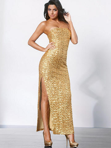 Strapless Sequin Gown - Elegance and allure are yours to command in this gorgeous strapless gown. Each step lets the sequins shimmer in the light and ensures you're the center of attention. Featuring a devastatingly sexy side slit, this dress sets the gold standard in glamour. Padded bust. Lined. Imported.