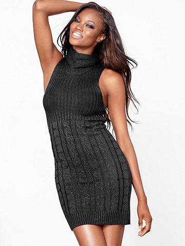 Sweater Sheath Dress - Crafted from a gorgeously shimmering knit, this sweater dress is the ultimate day-to-night dress for the cooler months. Featuring a foldover, cowl-inspired neckline and ribbed trim, it can go from office hours to happy hour with ease. Imported.