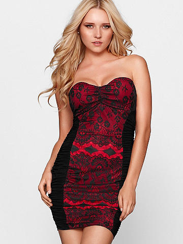 LACE OVERLAY STRAPLESS DRESS